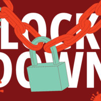 Lock down. Virus prevention measures. Vector illustration.